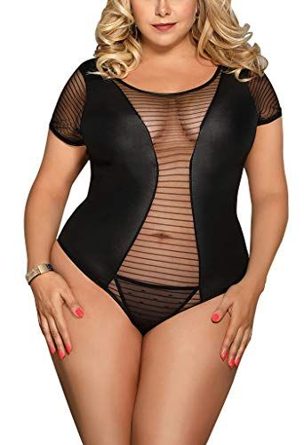 Womens Sexy Sheer Faux Leather Teddy Bodysuit Tops Clubwear Jumpsuit ... c2e41dafb