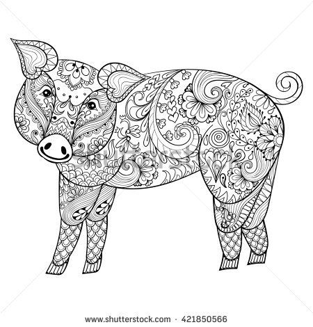 Pig. Zentangle Pig illustration, Swine print for adult anti stress coloring page. Hand drawn artistically ornamental patterned decorative animal for tattoo, boho design