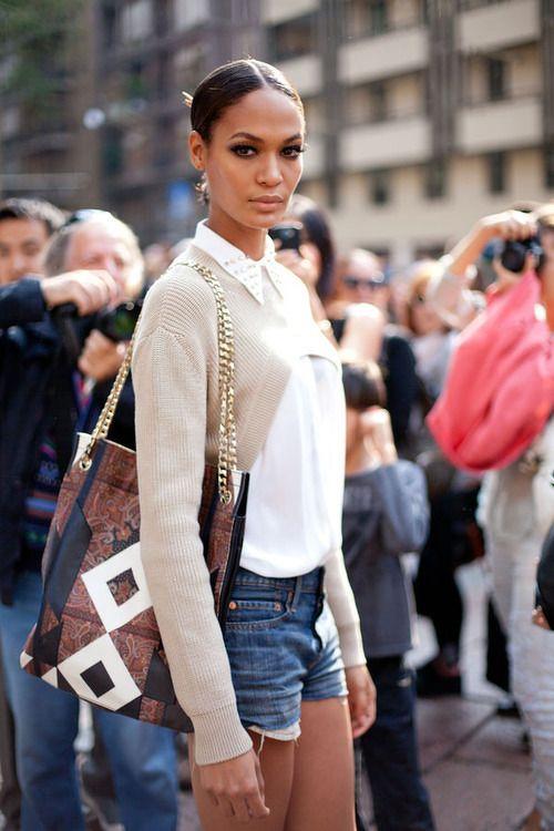 White silk blouse, cream bolero cardi, jean cut off shorts