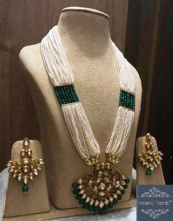 VeroniQ Trends-Designer Rani Haar Style in Pearls,KundanPolki Necklace Set very High Quality D11-Bridal,Wedding,Engagement