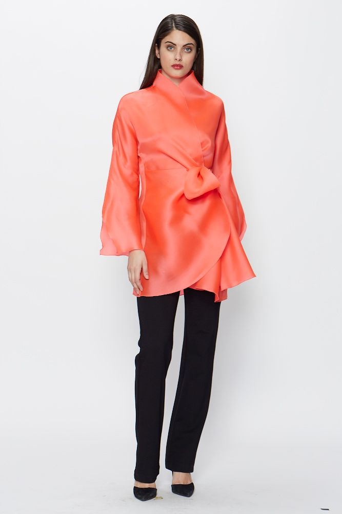 Colorful silk organza blouse. From our collection of evening separates. | Side ties, Occasion ...