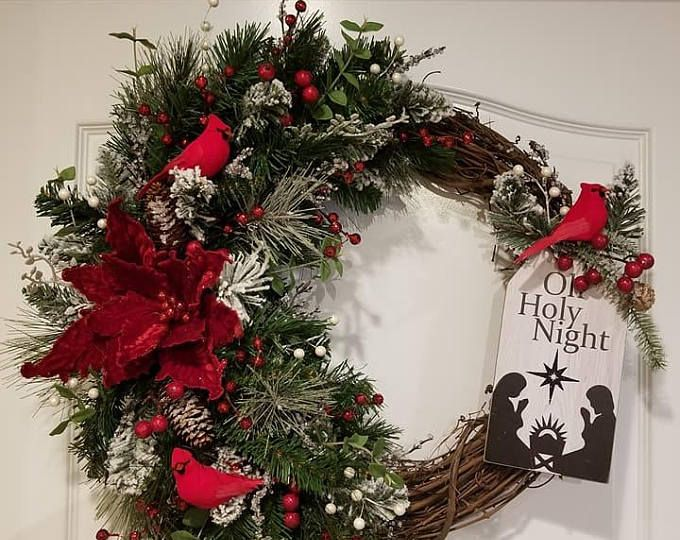 Front Door Wreath Wreath For Christmas Best Door Wreath Holiday Wreath Red Xmas Decor Custom Do Christmas Wreaths Christmas Garland White Christmas Wreath