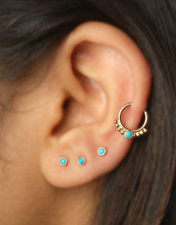 Helix / Cartilage / Septum Ring with 1mm balls and 2mm Turquoise stone Gold Filled or sterling Silver 18g, 6mm to 10mm inside dimension