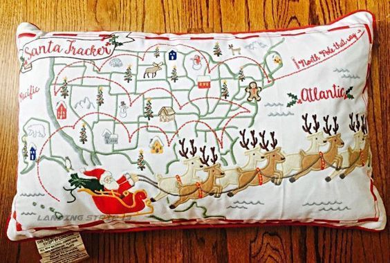 "NEW USA Santa Tracker Embroidered Feather Pillow 24"" x 14"" Holiday Accent Pillow #Unbranded"
