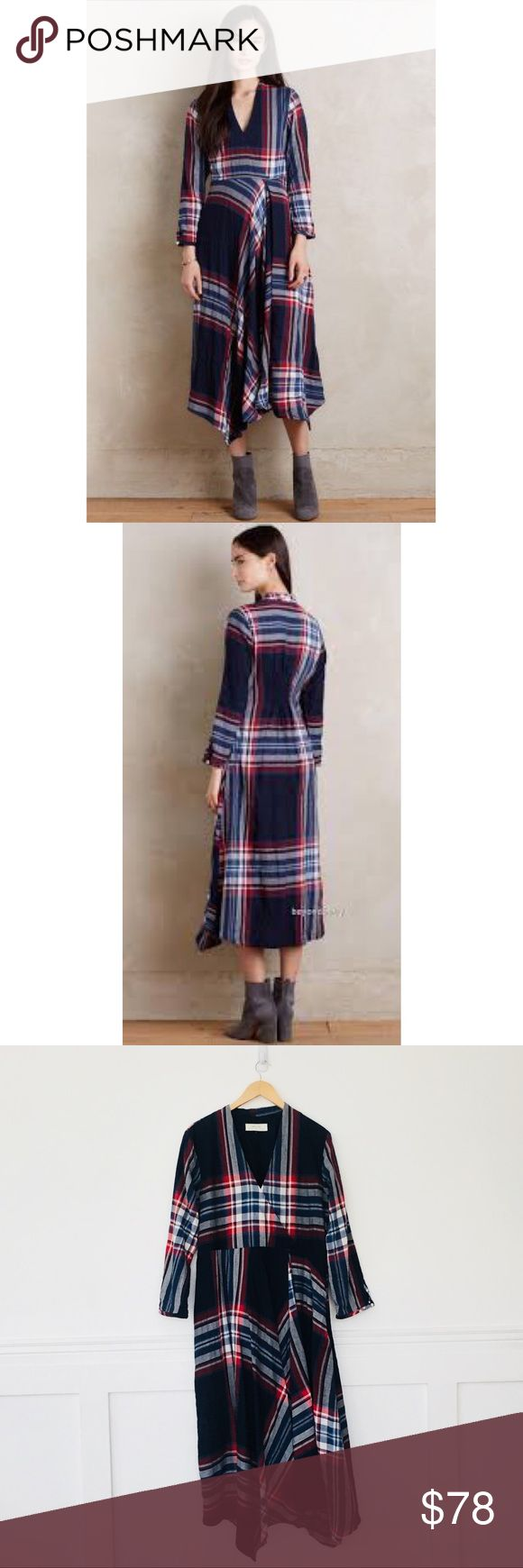 "Anthropologie Isabella Sinclair dress Tartan Surplice Dress by Isabella Sinclair.   Long sleeves, empire silhouette, irregular skirt.  Side zip.  Cotton and elastane.  Size XL. Bust 20.5"", waist 18.5"", length 49"".  In excellent condition with no signs of wear. Anthropologie Dresses"