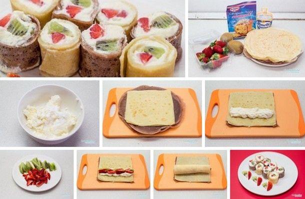 Сладкие роллы из блинов. Ингредиенты: готовые блинчики-7 штук; сливочный сыр-150гр; сахарная пудра-2 ст.л.; любые фрукты(у нас киви и клубника) Испеките два или три блинчика с добавлением какао. Сливочный...
