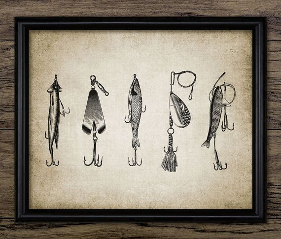 Vintage Fishing Lure Print  Fishing Lure by InstantGraphics