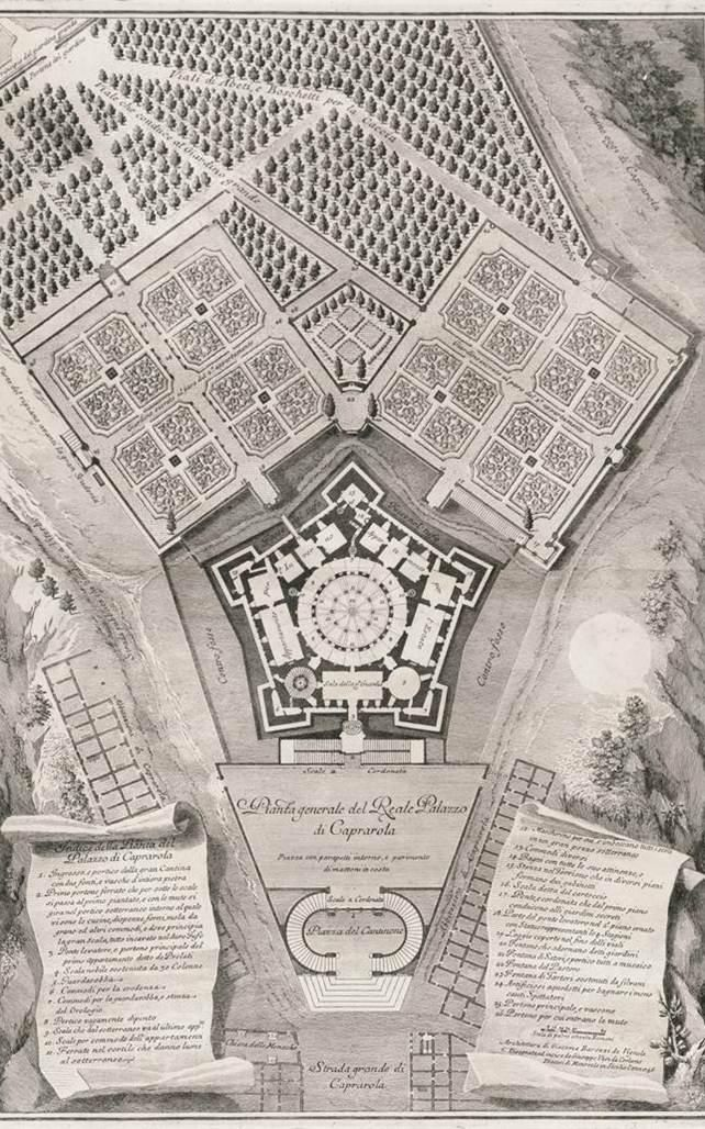 Palazzo Farnese, Caparola, ground plan and gardens