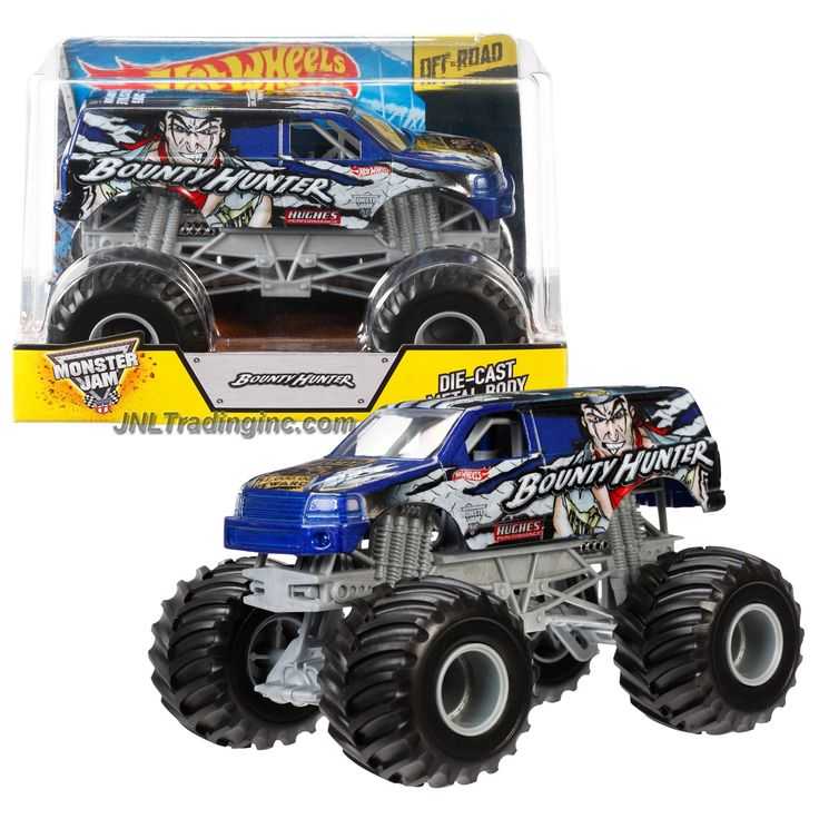 Monster Jam 1:24 Scale Die Cast Metal Body Monster Truck #CCF27 - BOUNTY HUNTER with Monster Tires, Working Suspension and 4 Wheel Steering
