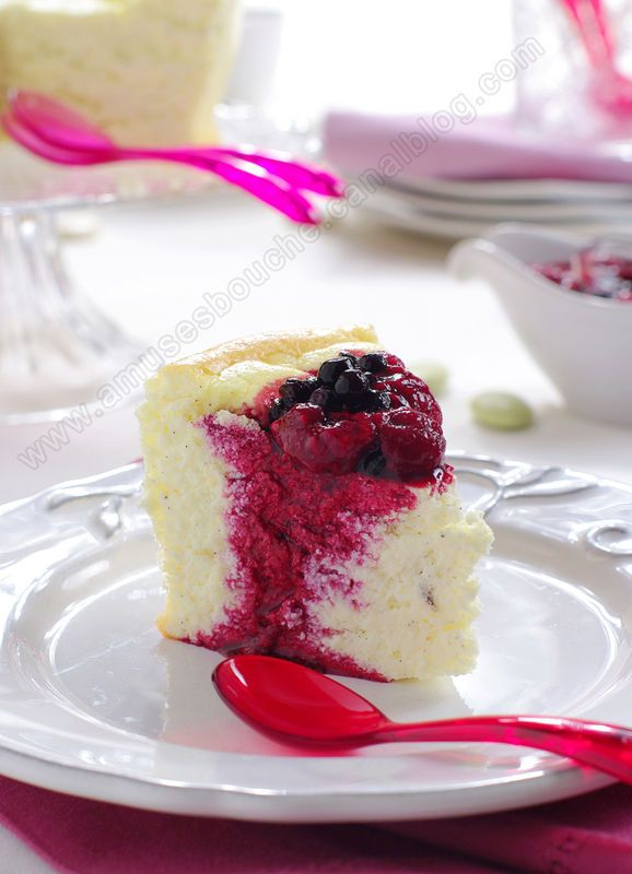 Vanilla Cloud -a lighter cheese cake with a mixed berry reduction