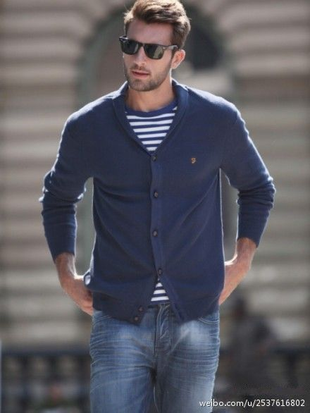Shop this look on Lookastic:  http://lookastic.com/men/looks/navy-shawl-cardigan-and-blue-horizontal-striped-crew-neck-t-shirt-and-blue-jeans/466  — Navy Shawl Cardigan  — Blue Horizontal Striped Crew-neck T-shirt  — Blue Jeans