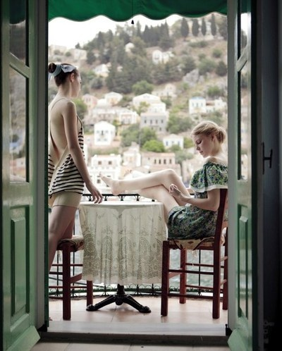 Marie Claire editorial shot in Symi, one of the Greek islands