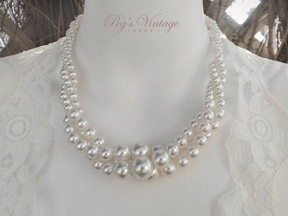 Vintage Twisted White Faux Pearl Necklace Three Strand