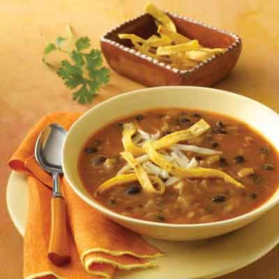 Make these Crispy tortilla STRIPS add a little crunch to this flavorful south-of-the-border soup.