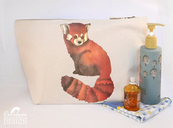 Red Panda Canvas Wash Bag Large Zipper Pouch Makeup Bag Toiletry Bag Accessory Bag by ceridwenDESIGN http://ift.tt/2c8XYb7