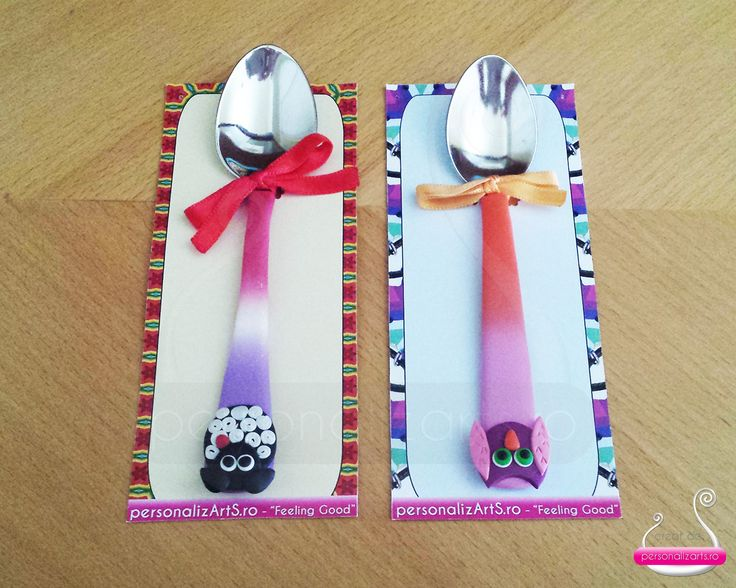 Polymer clay tea spoons decorated with animal figurines