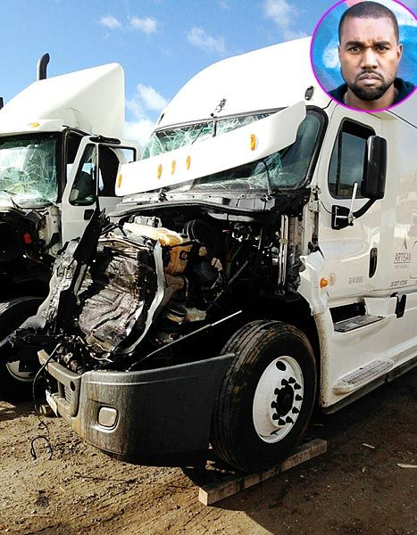 Kanye West Postpones Yeezus Tour: Truck Accident Photo - Us Weekly