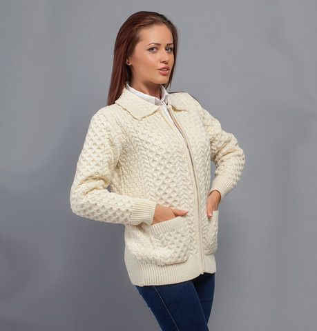 Traditional Aran Knit Zip Cardigan