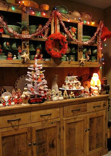 Whimsical Vintage Christmas.. this is absolutely beautiful.. wish I had the hutch for this... LOVE LOVE LOVE