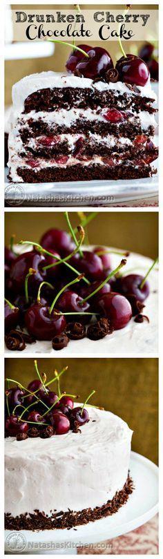 Moist, chocolatey, boozy, and cherry-licious cake.