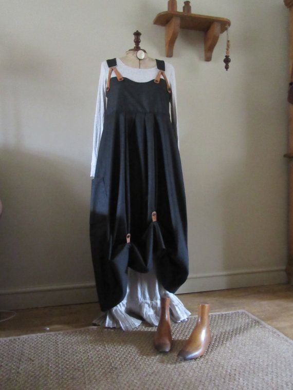 Quirky Lagenlook balloon shaped overalls or pinafore, black denim with real leather braces and hitches.Size UK 8/10/12 or US 6/8/10