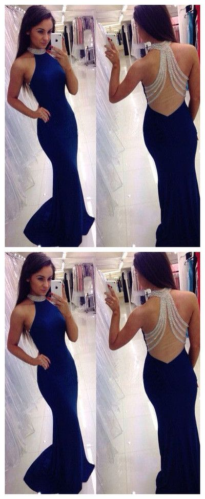 Backless Prom Dresses Long Royal Blue Evening Dress For Teens