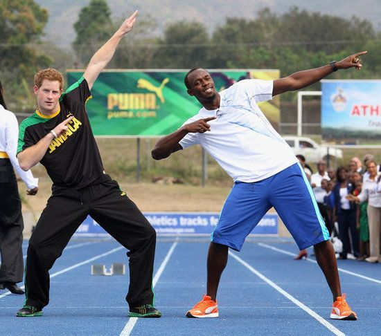 Prince Harry and the world's fastest man,Usain Bolt #awesomename for fastest runner!