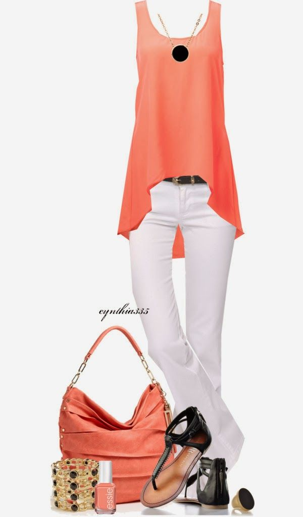 Spring Outfit: Coral, Fashion, Summer Outfit, Style, Closets, Clothing, White Pants, White Jeans, Spring Outfits