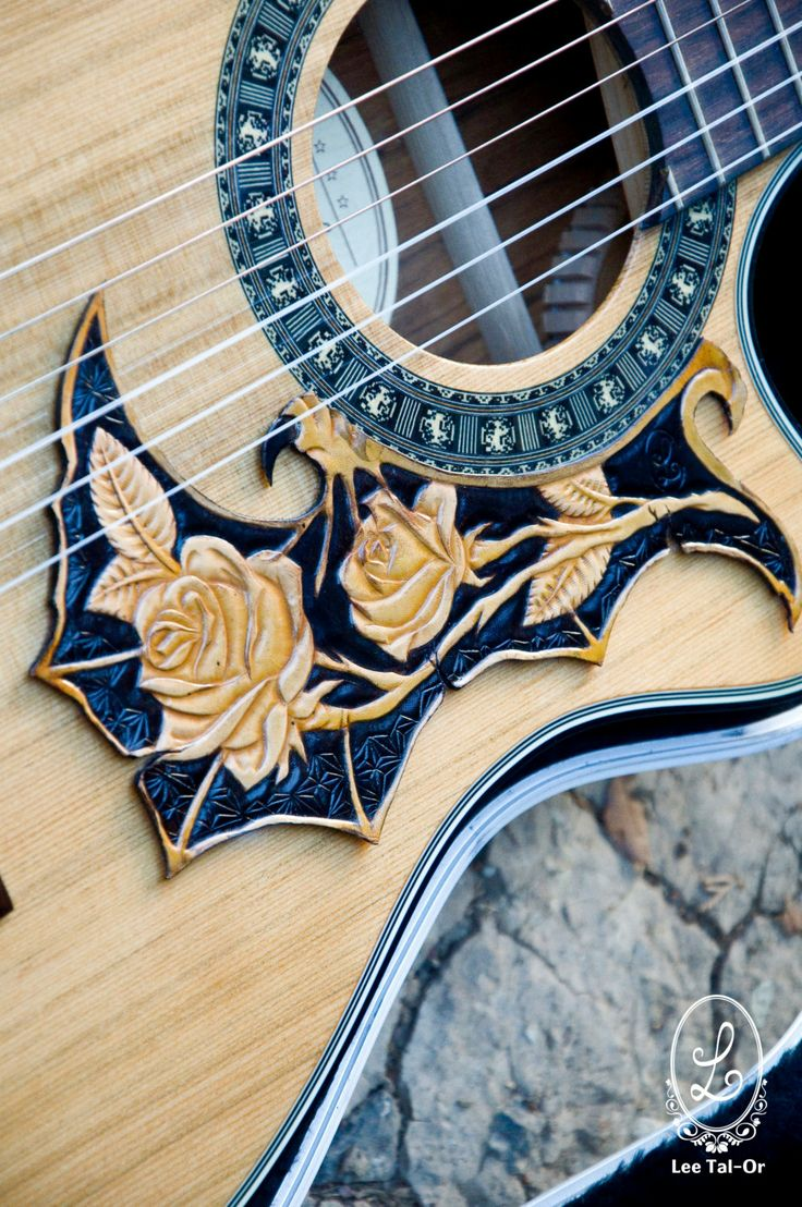 genuine leather carved pickguard for acoustic or by LeeTalor, ₪550.00