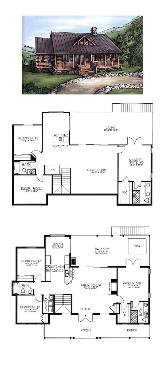 49 best log home plans images on pinterest log home log for Traditional log cabin plans