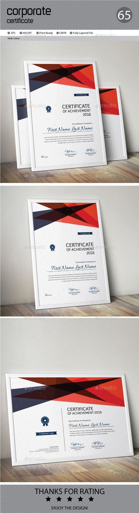11 best Certificates   Employee Recognition images on Pinterest     Certificate by ConceptFactory Certificate is especially for Corporate or  Professional use  Landscape and Portrait version are available