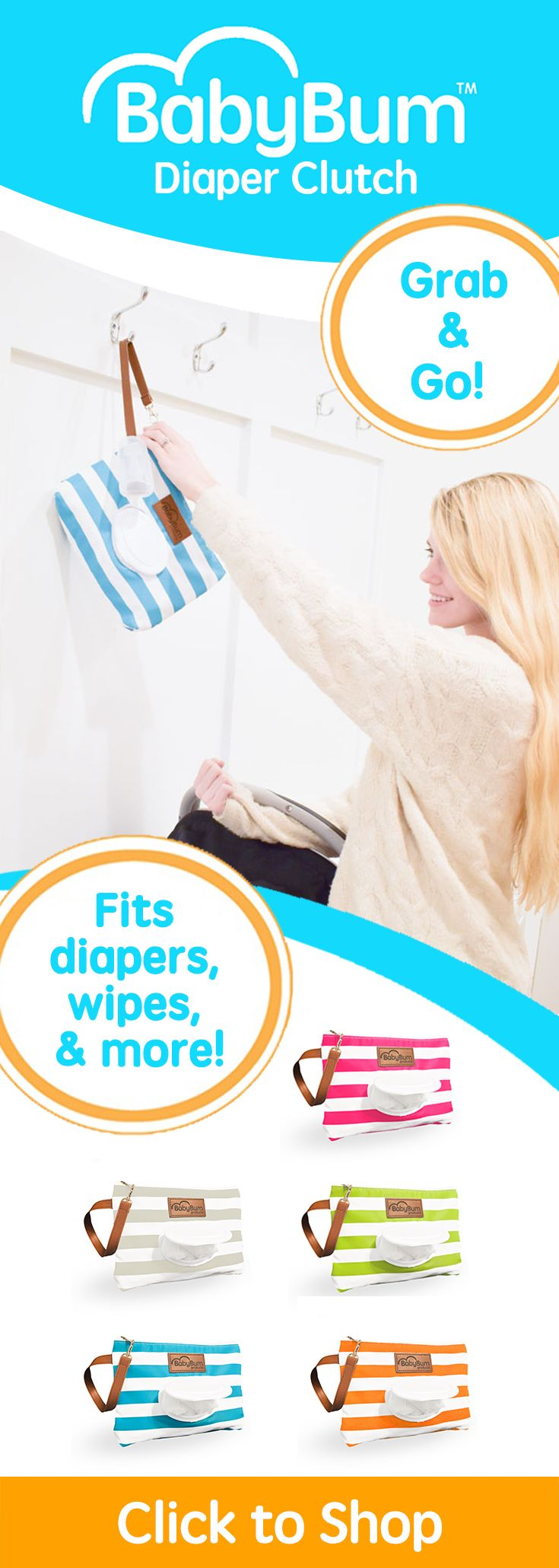 """""""This product is so much more then just a diaper clutch. We are in the process of potty training and I've been looking for something small and convient to take out and about. I perfectly fit wipes, 3 pull ups, and a change of clothes for my son in this awesome clutch! It's still small enough to not be in the way and I love that I can just clip it to his stroller and be on my way!"""" - Breanna"""