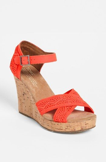 Finish up a cute fit  flare dress with these TOMS wedge sandals - completes any outfit!