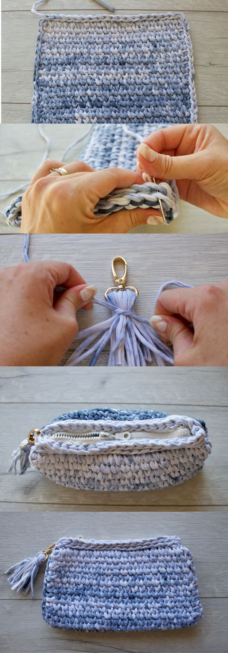 Crochet clutch pattern with zip. Step-by-step photo tutorial. Click to view!