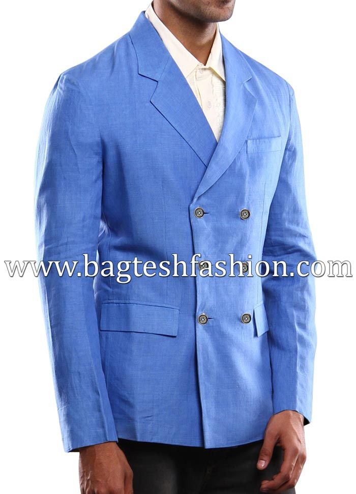 Notched Lapel Double Breasted Linen Blazer