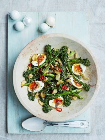 Broccoli & boiled egg salad with anchovies, chillis & croutons | Jamie Oliver