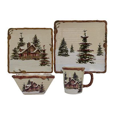 My beautiful Christmas dinnerware from Kohl's- St. Nicholas Square Snow Valley Collection