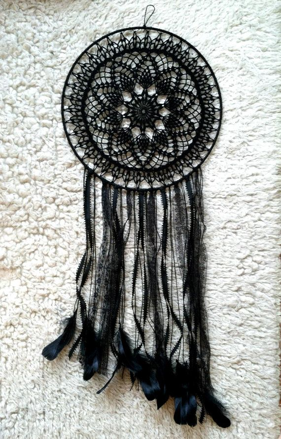 This black magic dreamcatcher is the perfect addition to your midnight bohemian style. Black crochet doily, black lace, black raven feathers.    {Item