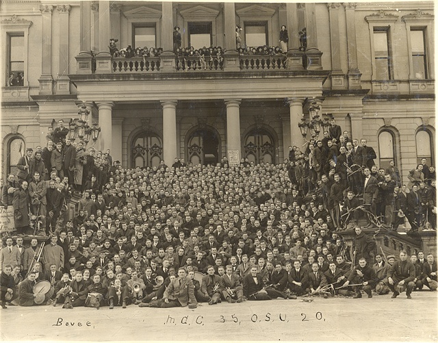 Victory rally after MAC vs OSU football game, 1912 by Michigan State University Archives, via Flickr
