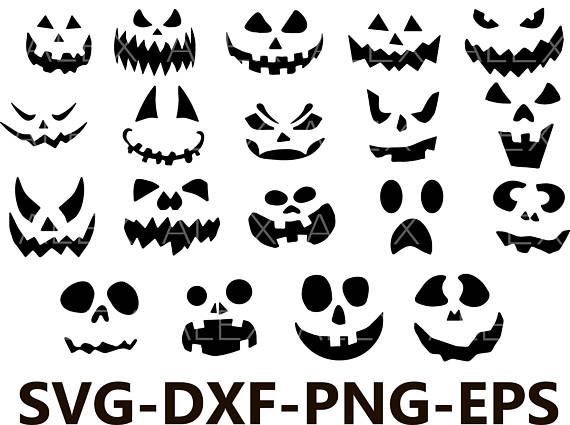 Pumpkin Faces Svg, Halloween png, eps, svg, dxf, Halloween Clipart ...