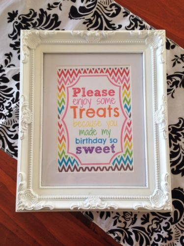 Candy Buffet Birthday Rainbow Table Sign Printed Paper Sign 5 X 7 | eBay