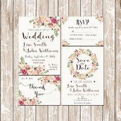 Einladung Hochzeit Einladung Pink Floral von HappyLifePrintables