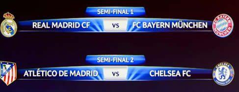 Real Madrid vs Bayern y Atlético vs Chelsea; las semifinales de Champions League