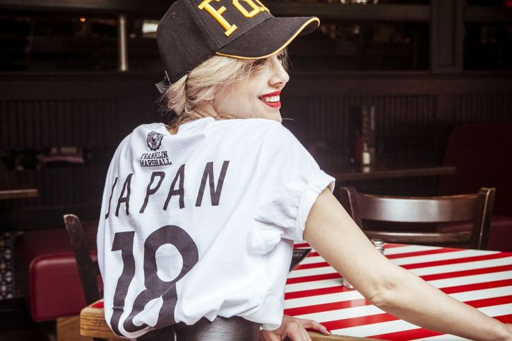 red lips and jockey hat, athletic chic