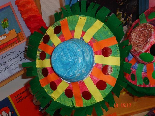 * Feesthoedje! Gemaakt van een papieren bordje en een plastic soepkom. Maak in het papieren bordje een gat zodat de soepkom hier in past. De kinderen verven het geheel, knippen crêpepapier...en versieren het hoedje verder met plakfiguurtjes.