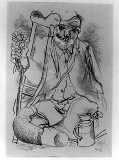 George Grosz : El héroe- 1936, litografía. Totum Revolutum: La Nueva Objetividad Alemana