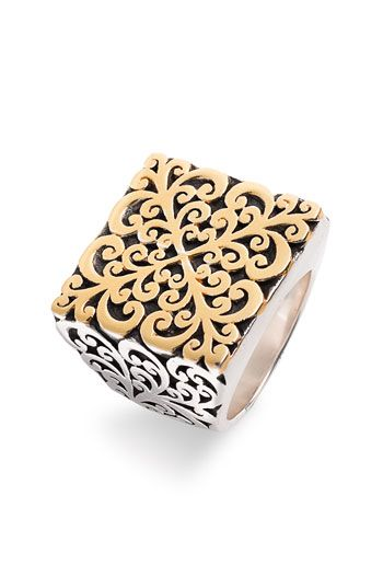 lois hill Two Tone Square Geo Ring