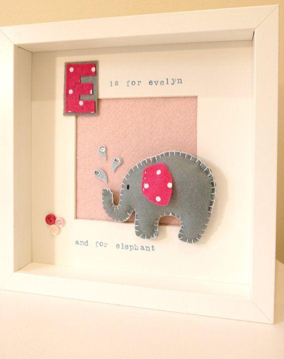 Felt elephant frame, Personalised baby gift, Christening gift, nursery décor, child's room, felt animal, baby keepsake, E is for Elephant