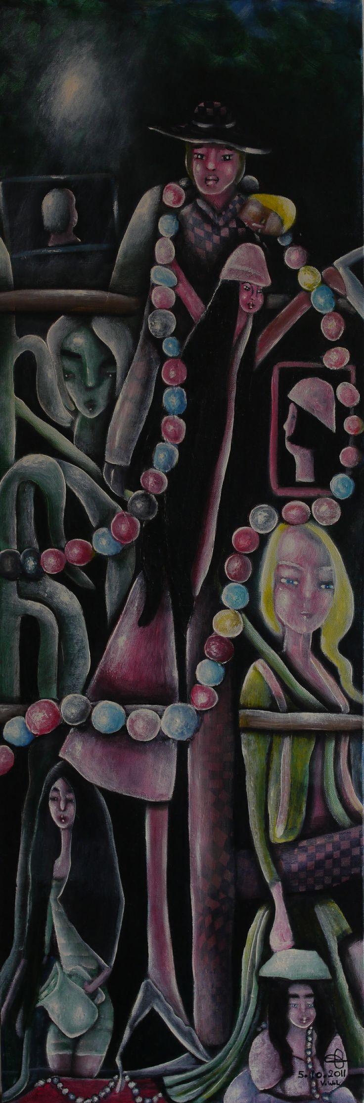 """VWL/Twen/006 (Paris 2011  """"Twenties Party"""")- Acrylic on canvas/ Acrylique sur  toile/Acrylico  sobre tela  (30X90cm)"""