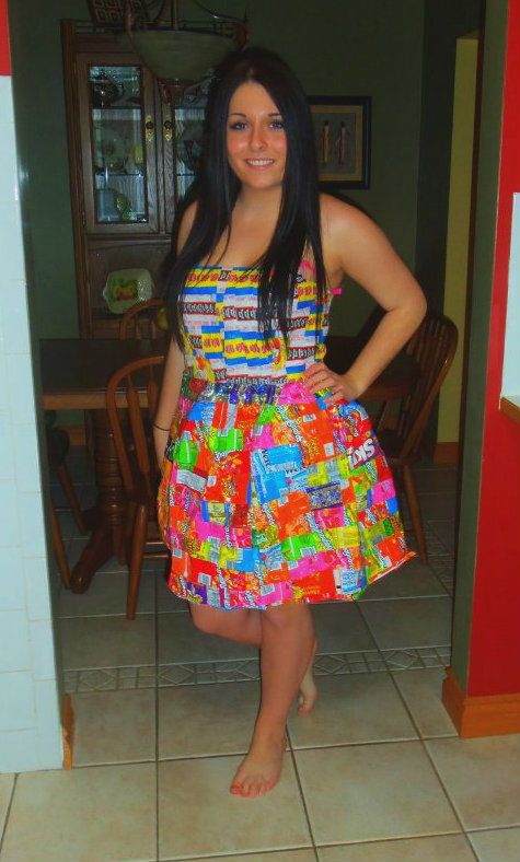 i constructed and sewed a dress made from recycled candy wrappers for my grade 12 fashion sour patchessour patch kidscandy